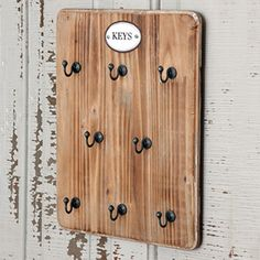 Wooden Key Rack  - with 8 hooks.
