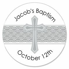 Delicate Blessings Cross - Personalized Baptism Sticker Labels - 24 ct | BigDotOfHappiness.com