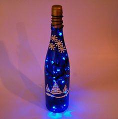 Wine bottle light Christmas trees blue and by LightBottlesByVicki, $23.00