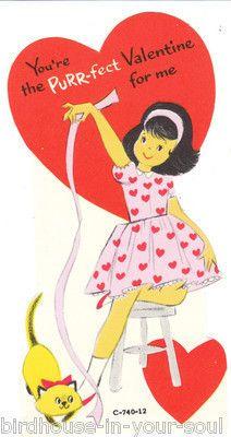 Vintage Valentine Card Girl Siamese Cat Purr-fect Unused Die-Cut for Children My Funny Valentine, Valentines Day Greetings, Vintage Valentine Cards, Valentine Day Love, Valentines For Kids, Valentine Day Cards, Vintage Cards, Valentine Stuff, Printable Valentine