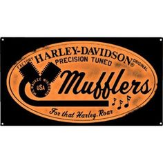 Harley Davidson Mufflers Roar Sign Ande Rooney Harley Davidson Embossed Tin Sign Collection utilizes lithographed on tin process, this makes for a more detailed and inticate sign. The result is a repr
