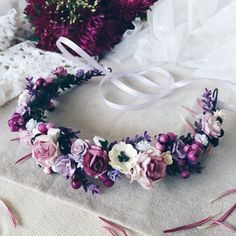 Flower Crown Inspiration with deeper purples and mixed eucalyptus.