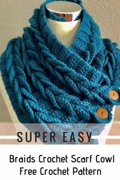 Great idea how to very easily crochet stunning colour cowl with buttons. The size can be any. Works up fast and by every crochet fan even beginner. The link Tutorial Braids Crochet Scarf Cowl with Free Tutorial Crochet Stitches Free, Crochet Scarf Easy, Crochet Cowl Free Pattern, Crochet Scarves, Knitting Patterns Free, Crochet Clothes, Knit Crochet, Crochet Patterns, Crochet Braids