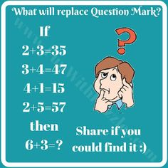 Tricky Math Riddle - from funwithpuzzles .Answer in Comments. Math Riddles With Answers, Puzzles And Answers, Brain Riddles, Math Games For Kids, Puzzles For Kids, Fun Math, Math Logic Puzzles, Hard Puzzles, Number Puzzles