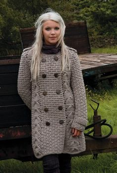 I am going to knit this cosy chunky coat - and add pockets.