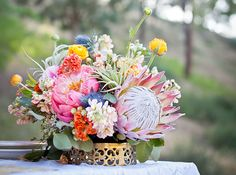 Beautifully textural bouquet with spring brights and king protea. Protea Wedding, Wedding Table Flowers, Wedding Centerpieces, Floral Wedding, Wedding Bouquets, Wedding Decorations, Rustic Wedding, Wedding Shoes, Green Wedding
