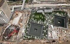 Aerial view from the World Trade Center on July 19, 2012. (Vehicle Security Center is at left, Memorial is in the Center)  Construction Progress 11 years after September 11, 2001 attack in New York.
