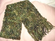Hand loomed warm scarf in Army camoflage by KelleysKreationsLV
