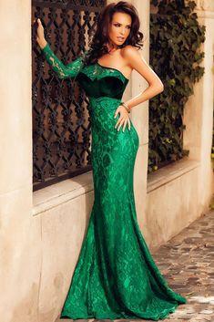 Green Velvet Insert One Shoulder Lace Mermaid Party Dress