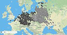 Mapa niemieckich obozów śmierci i gett w czasie II wojny światowej - Źródło: apps.frontline.org/camps