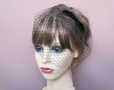 black french net birdcage veil 40s 50s vintage style formal veil wedding funeral in Clothes, Shoes & Accessories, Wedding & Formal Occasion, Bridal Accessories   eBay