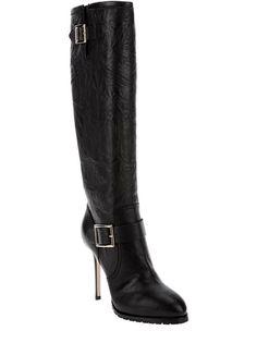 JIMMY CHOO:  Black Leather Knee High Boots  $ 1,091.00