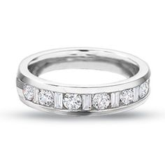 Love Love Love, little different :-) 1/4 CT. T.W. Round and Baguette Diamond Channel Band in 14K White Gold