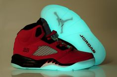2012 Newest Men Nike Air Yeezy Jordan 5 Glow In The Dark Shoes Red Black.