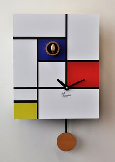 Mondrian cuckoo, made in Italy Modern Cuckoo Clocks, Modern Clock, Piet Mondrian, Orange Pastel, Classic Clocks, Contemporary Interior Design, Interior Modern, Bohemian Interior, French Interior