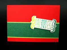 Hobbycraft Naughty or Nice Clear Stamp, Christmas Card