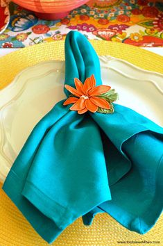 Turquoise napkin and