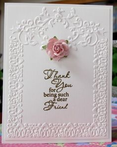 Dear Friend by Susie B - Cards and Paper Crafts at Splitcoaststampers Card Making Inspiration, Making Ideas, Spellbinders Cards, Embossed Cards, Friendship Cards, Mothers Day Cards, Cards For Friends, Scrapbook Cards, Scrapbooking Ideas