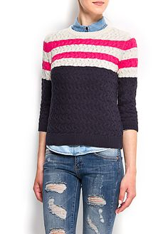 Cable knit stripes cotton jumper