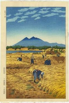 THE HARVEST BY KASAMATSU SHIRO. Rich golds reflect the  warmth of the harvest season. Those bent over harvesting mirror the shape of the bent over rice stalks!! #woodblock #prints SEE MORE ART NOW www.richard-neuman-artist.com