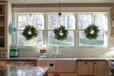 House Walk 2015 Trader Joes wreaths over farmhouse kitchen sink in Christmas kitchen - Trader Joes wreaths over farmhouse kitchen sink in Christmas kitchen - Window Over Sink, Kitchen Sink Window, Kitchen Decor, Kitchen Ideas, Kitchen Windows, Kitchen Sinks, Kitchen Cabinets, Kitchen Design, Wall Cabinets