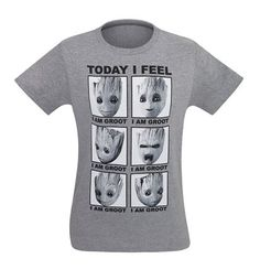 The GOTG Vol. 2 Groot Today I Feel Like Men's T-Shirt illustrates the many different aspects of everybody's favorite baby from Guardians of the Galaxy Volume 2!