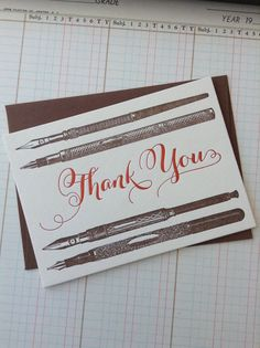 Letterpress Thank You Card with antique quill pens by TeeNeeMi, $6.00