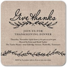 Cozy Welcome - Thanksgiving Party Invitations in Maple | Magnolia Press