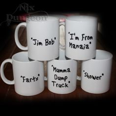 "Mugs pre-printed OR custom made to suit you! Permanent prints that are Dishwasher and Microwave safe, but alas not ""hit the floor"" safe! Ceramic mugs to fit you! Ceramic Mugs, Ceramics, Tableware, Products, Ceramica, Ceramic Cups, Dinnerware, Dishes, Ceramic Art"