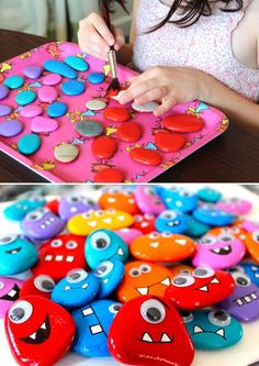 How to make rocks, rock sayings, monster party, monster classroom, diy magn Diy And Crafts Sewing, Crafts To Sell, Diy Crafts, How To Make Rocks, Monster Classroom, Kids Magnets, Magnets Crafts, Monster Crafts, Daycare Crafts