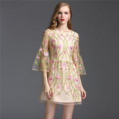 >> Click to Buy << Luxury Dress 2017 New Summer High Street Women Fashion Floral Embroidery Flare Sleeve Mini Mesh Princess Dresses #Affiliate