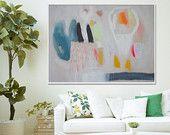 GICLEE PRINT, white, blue, green, yellow, pink, modern art, expressionist art