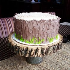 "I would have several layers of ""wood"" cake and deer antlers. Wood Cake, Cupcake Tree, Cupcake Cakes, Baby Shower Cupcakes, Shower Cakes, Tree Stump Cake, Tree Stumps, Nature Cake, Chocolate Hazelnut Cake"