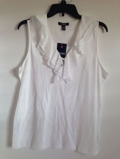 8c23cc7aed7 NWT Women s Chaps White Ruffle Lace Neckline Sleeveless Cotton Tank Top Size  XL