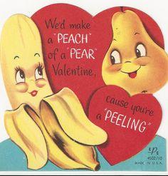 270 A Peach A Pear Together Huh Vtg Anthropomorphic Valentine Card | eBay