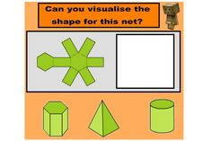 Match 3D shapes to their nets in this engaging IWB lesson.