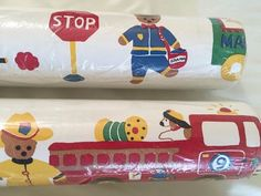 3 Rolls Wallpaper Kids Boy Primary Colors Teddy Dog Mail Truck Car Traffic Vtg #NewCountryGear