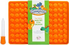 Amazon.com: Gummysaurus Dinosaur-Shaped Gummy Bear Mold (2-Pack) Giant, Non-Stick Silicone Tray | Creates 160 Sweet Snacks | Triceratops, T-Rex, Stegosaurus, Brontosaurus | Kid Friendly: Kitchen & Dining