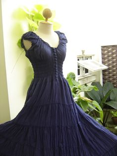 Princess Cotton Dress Extra Long - Navy Blue