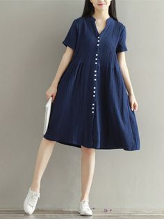 Sleeve women loose buttons dresses short sleeve dresses, dresses with sleev Linen Dresses, Cotton Dresses, Cute Dresses, Vintage Dresses, Short Sleeve Dresses, Dresses Dresses, Loose Dresses, Fall Dresses, Frock Fashion