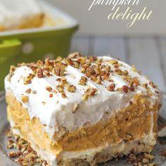 Layered Pumpkin Dessert @keyingredient #cheese #dessert #chocolate