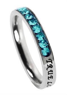 "Princess Birthstone December-Turquoise ""True Love Waits"" Christian Purity Ring, 1 Timothy 4:12"
