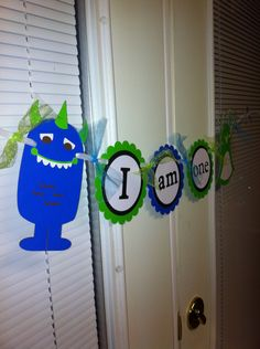 Monster Happy Birthday banner, Monster party, Monster decorations, Monster baby shower, Monster highchair banner, I am one banner by MindysPaperPiecing on Etsy