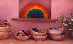 shallow little baskets for toys, yarn, etc.- image via Happy Whimsical Hearts: Waldorf kindergarten
