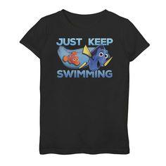 Girls Disney/Pixar's Finding Dory Just Swimming With Nemo Tee, Girl's, Size: XL, Black Disney Outfits, Disney Clothes, Keep Swimming, Finding Dory, Disney Pixar, Short Sleeves, Tees, Mens Tops, Gender Female