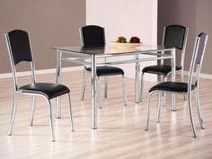 Conjunto de Mesa Aço Cromado com 4 Cadeiras - Design Final Plus/Elegance