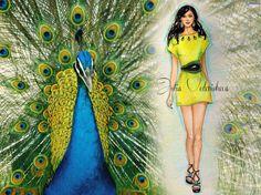 peacock,fashion,dress,yellow