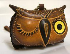 Handmade Genuine Leather Brown Owl Coin Purse Wristlet