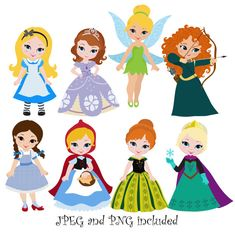Princess 04 Digital Clipart /  Princess Clip Art / Fairytale Princess Digital Clipart For Personal and Commercial Use / INSTANT DOWNLOAD