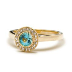 Handcrafted Yellow Gold Blue Topaz Halo Engagement Ring